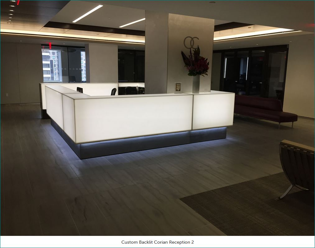 Custom Backlit Corian Reception Desk