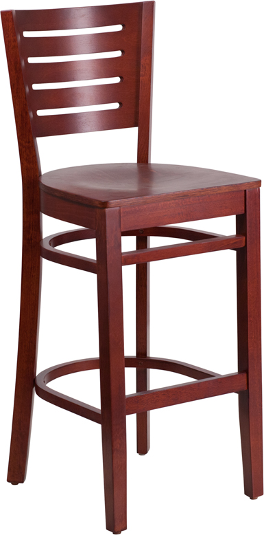 ERGONOMIC HOME TOUGH ENOUGH Series Slat Back Mahogany Wooden Restaurant Barstool <b><font color=green>50% Off Read More Below...</font></b>