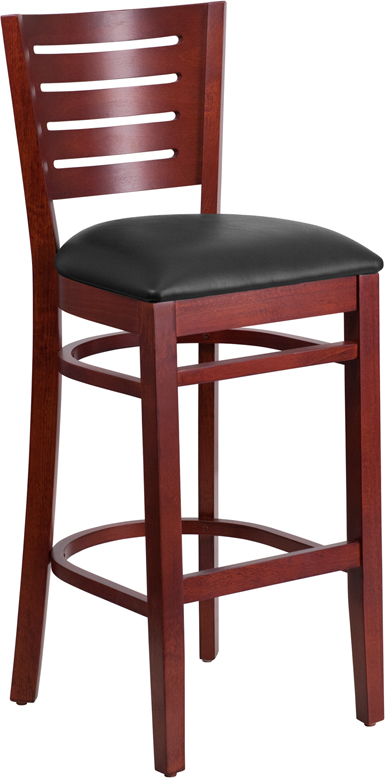 ERGONOMIC HOME TOUGH ENOUGH Series Slat Back Mahogany Wooden Restaurant Barstool - Black Vinyl Seat <b><font color=green>50% Off Read More Below...</font></b>