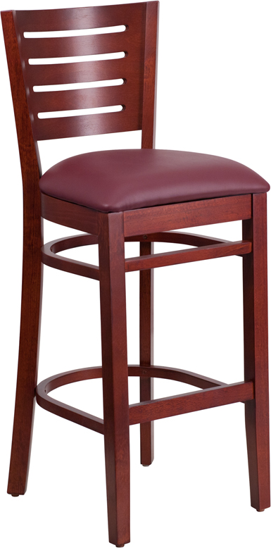 ERGONOMIC HOME TOUGH ENOUGH Series Slat Back Mahogany Wooden Restaurant Barstool - Burgundy Vinyl Seat <b><font color=green>50% Off Read More Below...</font></b>