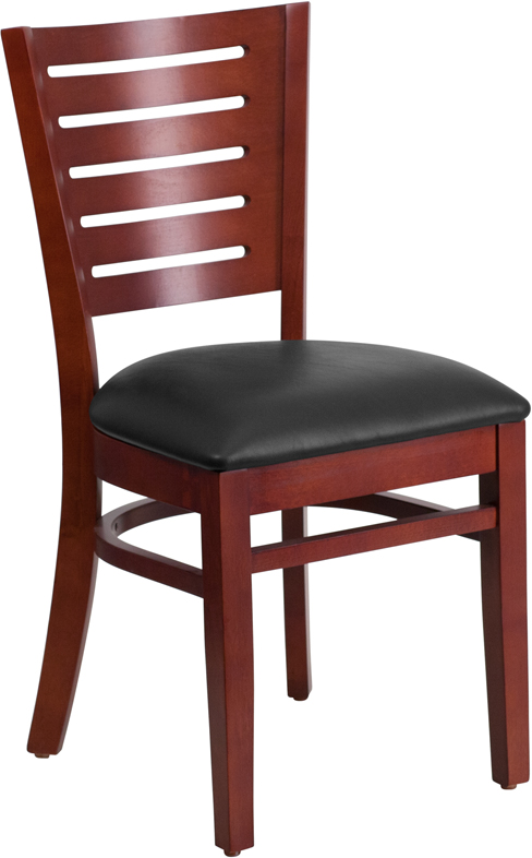 ERGONOMIC HOME TOUGH ENOUGH Series Slat Back Mahogany Wooden Restaurant Chair - Black Vinyl Seat <b><font color=green>50% Off Read More Below...</font></b>