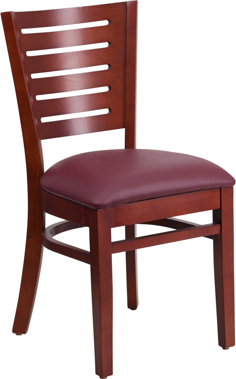 ERGONOMIC HOME TOUGH ENOUGH Series Slat Back Mahogany Wooden Restaurant Chair - Burgundy Vinyl Seat <b><font color=green>50% Off Read More Below...</font></b>