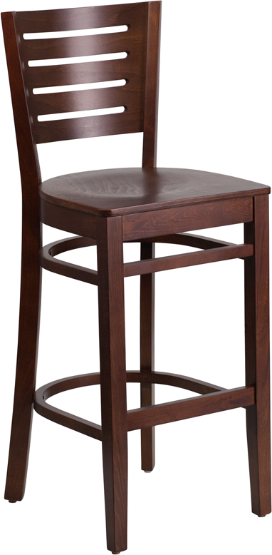 ERGONOMIC HOME TOUGH ENOUGH Series Slat Back Walnut Wooden Restaurant Barstool <b><font color=green>50% Off Read More Below...</font></b>