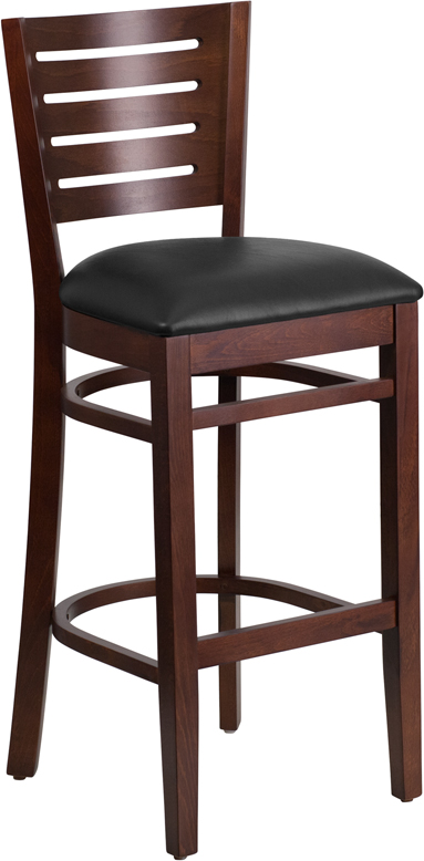 ERGONOMIC HOME TOUGH ENOUGH Series Slat Back Walnut Wooden Restaurant Barstool - Black Vinyl Seat <b><font color=green>50% Off Read More Below...</font></b>