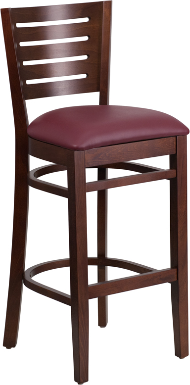 ERGONOMIC HOME TOUGH ENOUGH Series Slat Back Walnut Wooden Restaurant Barstool - Burgundy Vinyl Seat <b><font color=green>50% Off Read More Below...</font></b>