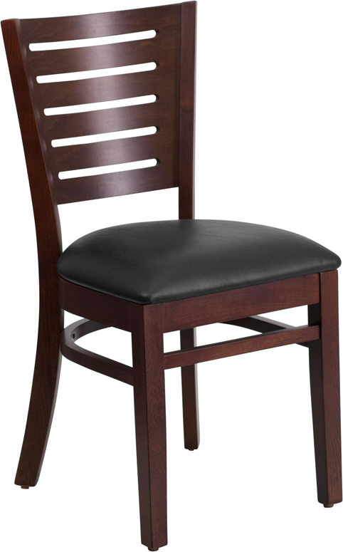 ERGONOMIC HOME TOUGH ENOUGH Series Slat Back Walnut Wooden Restaurant Chair - Black Vinyl Seat <b><font color=green>50% Off Read More Below...</font></b>