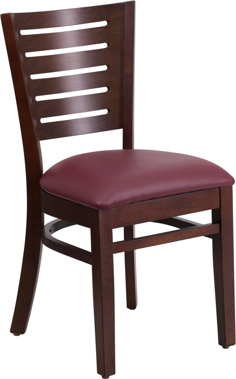 ERGONOMIC HOME TOUGH ENOUGH Series Slat Back Walnut Wooden Restaurant Chair - Burgundy Vinyl Seat <b><font color=green>50% Off Read More Below...</font></b>