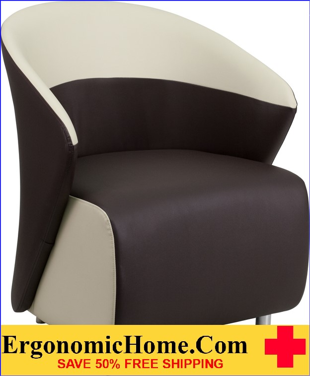 Ergonomic Home Dark Brown Leather Reception Chair with Beige Detailing <b><font color=green>50% Off Read More Below...</font></b>
