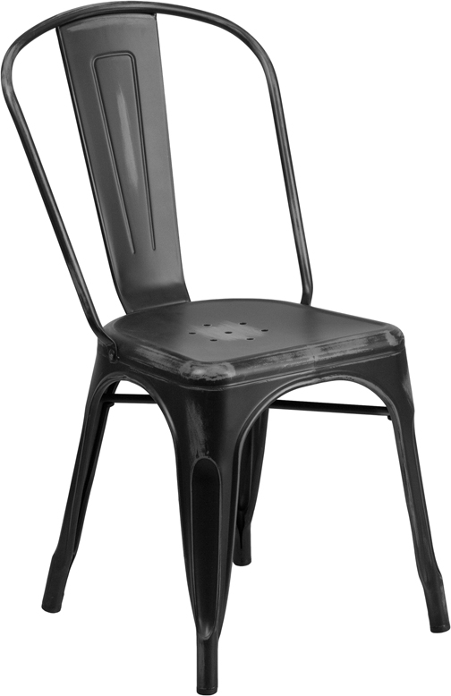 ERGONOMIC HOME Distressed Black Metal Indoor-Outdoor Stackable Chair