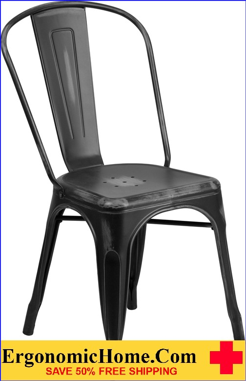 ERGONOMIC HOME Distressed Black Metal Indoor-Outdoor Stackable Chair  <b><font color=green>50% Off Read More Below...</font></b>