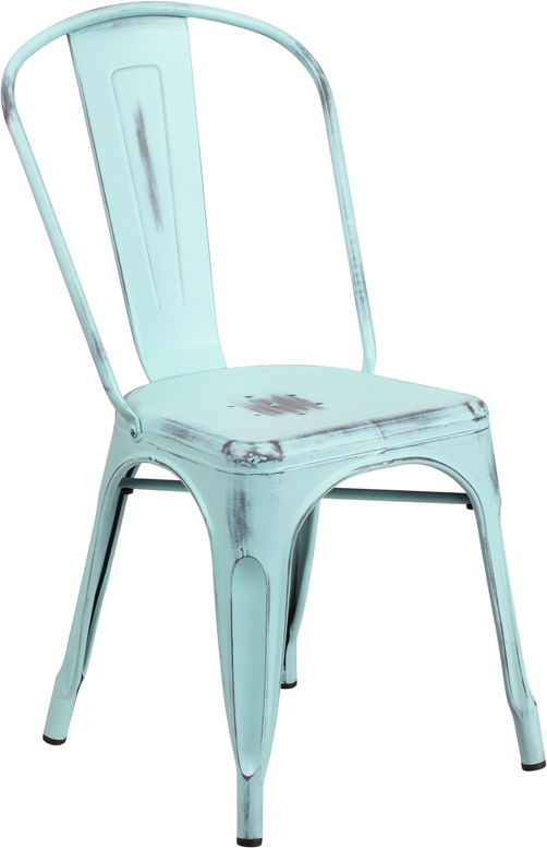 ERGONOMIC HOME Distressed Dream Blue Metal Indoor-Outdoor Stackable Chair