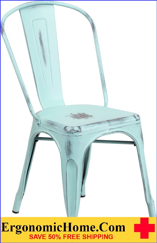ERGONOMIC HOME Distressed Dream Blue Metal Indoor-Outdoor Stackable Chair  <b><font color=green>50% Off Read More Below...</font></b>