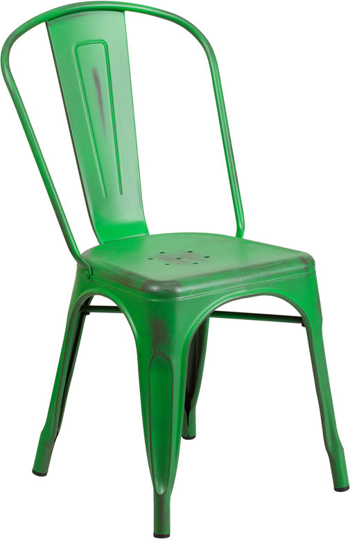 ERGONOMIC HOME Distressed Green Metal Indoor-Outdoor Stackable Chair
