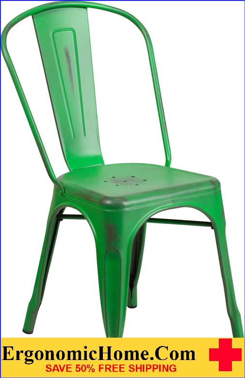 ERGONOMIC HOME Distressed Green Metal Indoor-Outdoor Stackable Chair  <b><font color=green>50% Off Read More Below...</font></b>