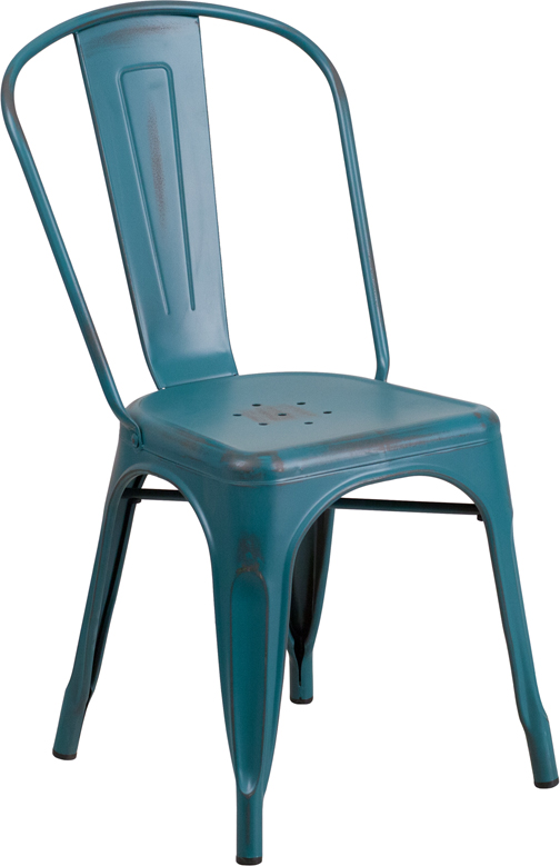ERGONOMIC HOME Distressed Kelly Blue Metal Indoor-Outdoor Stackable Chair