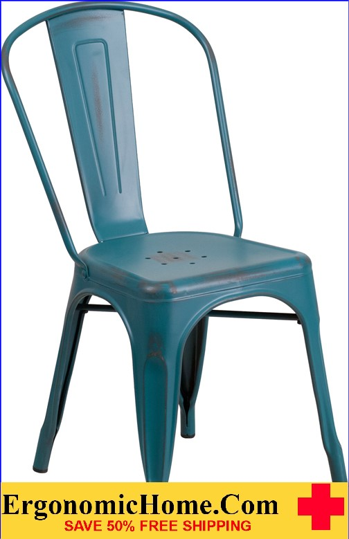 ERGONOMIC HOME Distressed Kelly Blue Metal Indoor-Outdoor Stackable Chair  <b><font color=green>50% Off Read More Below...</font></b></font></b>