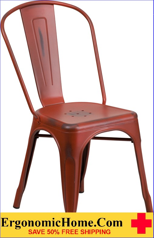 ERGONOMIC HOME Distressed Kelly Red Metal Indoor-Outdoor Stackable Chair  <b><font color=green>50% Off Read More Below...</font></b></font></b>