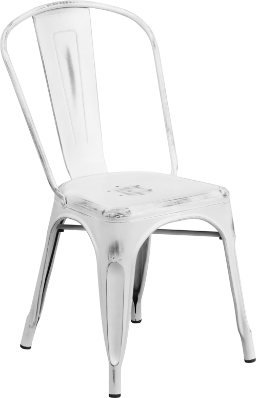 ERGONOMIC HOME Distressed White Metal Indoor-Outdoor Stackable Chair
