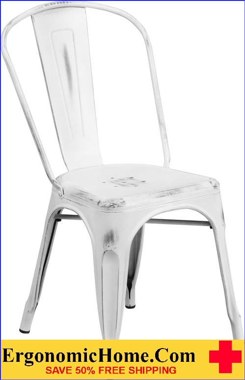 ERGONOMIC HOME Distressed White Metal Indoor-Outdoor Stackable Chair  <b><font color=green>50% Off Read More Below...</font></b>
