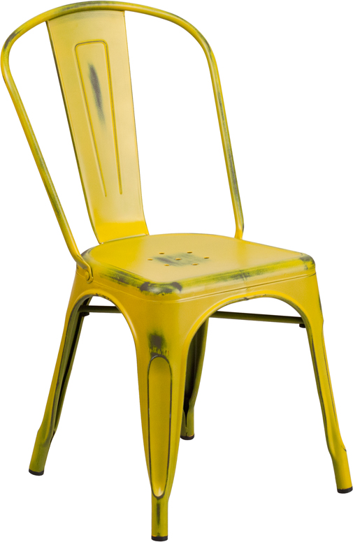 ERGONOMIC HOME Distressed Yellow Metal Indoor-Outdoor Stackable Chair