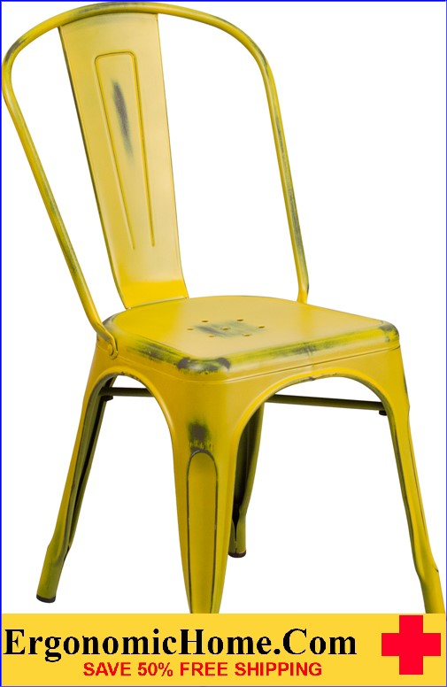 ERGONOMIC HOME Distressed Yellow Metal Indoor-Outdoor Stackable Chair  <b><font color=green>50% Off Read More Below...</font></b></font></b>