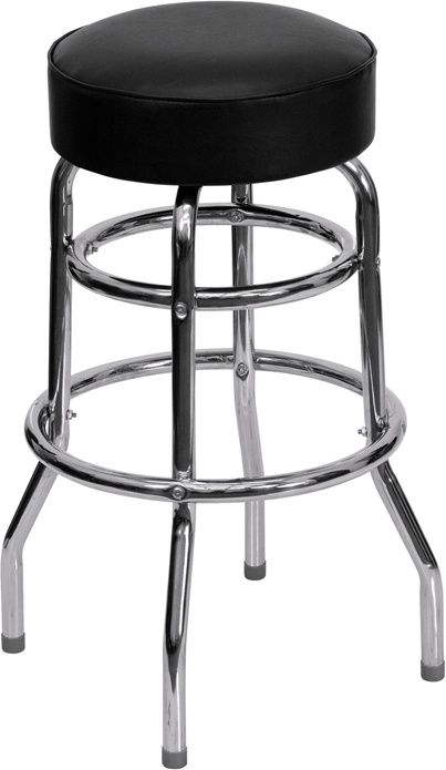 ERGONOMIC HOME Double Ring Chrome Barstool with Black Seat <b><font color=green>50% Off Read More Below...</font></b>
