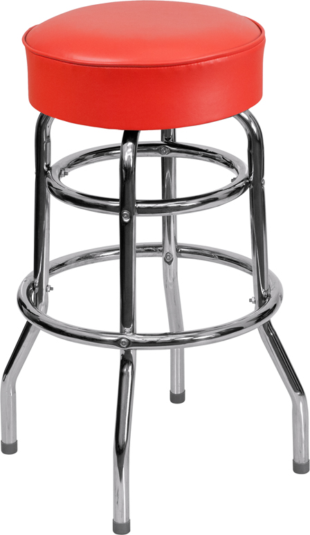 ERGONOMIC HOME Double Ring Chrome Barstool with Red Seat <b><font color=green>50% Off Read More Below...</font></b>