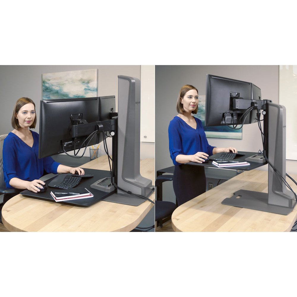 <font color=#c60><b>DUAL MONITOR STANDS SUPPORT TWO MONITORS HORIZONTALL OR VERTICALLY. ELECTRIC MOTORIZED HEIGHT ADJUSTABLE OR FIXED. VESA MOUNT:</font></b>