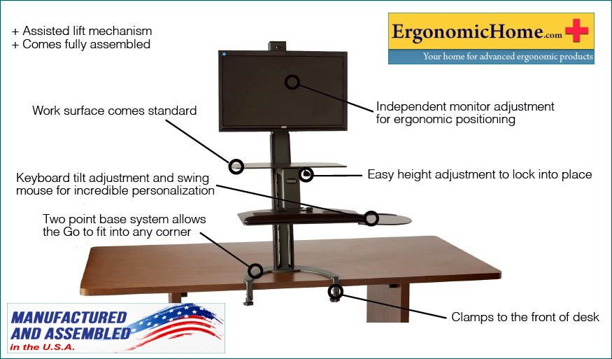 HEALTH POSTURES TASKMATE GO #6350 ADJUSTABLE DUAL MONITOR STAND. 100% MADE  IN USA. COMPLIANT TAA BAA: