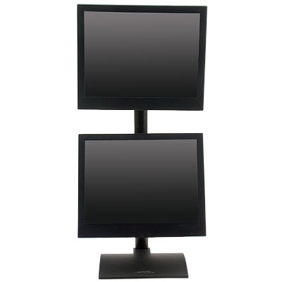"DUAL MONITOR STAND #9109-D:  MOUNT TWO MONITORS VERTICALLY ON 28"" POLE.  SIT ON TOP DESK. ADD TO CART FOR FREE SHIPPING.</b></font>"