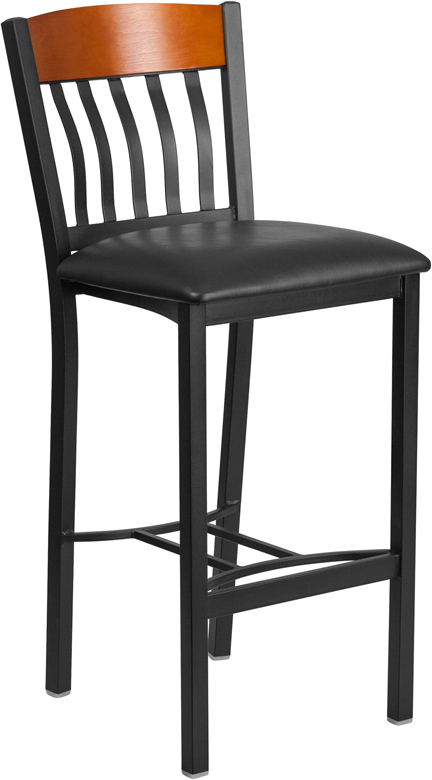 ERGONOMIC HOME TOUGH ENOUGH Series Vertical Back Black Metal and Cherry Wood Restaurant Barstool with Black Vinyl Seat <b><font color=green>50% Off Read More Below...</font></b>