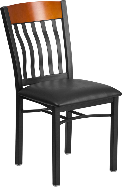 ERGONOMIC HOME TOUGH ENOUGH Series Vertical Back Black Metal and Cherry Wood Restaurant Chair with Black Vinyl Seat <b><font color=green>50% Off Read More Below...</font></b>