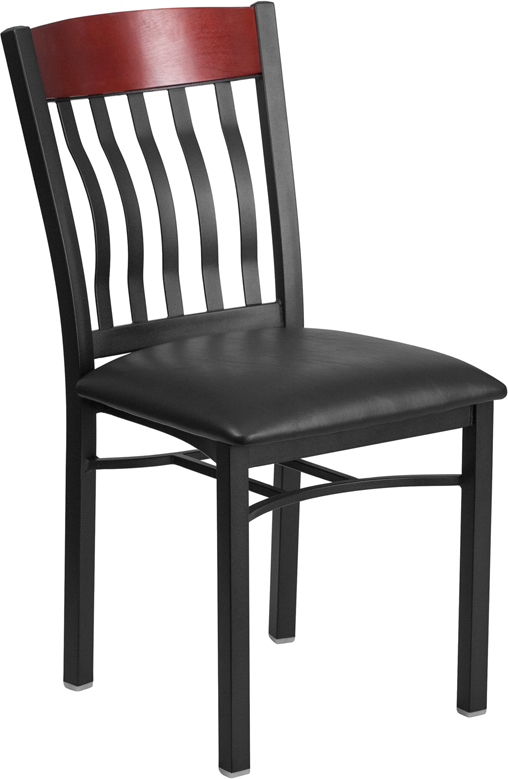 ERGONOMIC HOME TOUGH ENOUGH Series Vertical Back Black Metal and Mahogany Wood Restaurant Chair with Black Vinyl Seat <b><font color=green>50% Off Read More Below...</font></b>