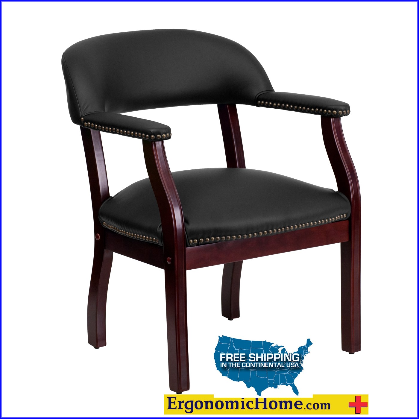 Ergonomic Home Black Vinyl Luxurious Conference Chair / Guest Chair EH-B-Z105-BLACK-GG .