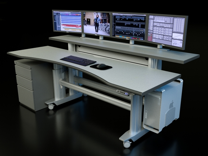 "ERGONOMIC HOME CONTROL ROOM DESK #EHST3E-BL. ADJUSTABLE W/ELECTRIC MOTORS. DIMENSIONS: 88 19/32""W. X 43""D. FREE SHIPPING. <font color=#c60>READ MORE...</font>"