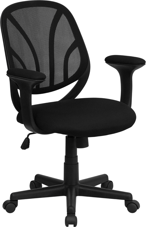 Ergonomic Home Mid-Back Black Mesh Swivel Task Chair with Arms EH-GO-WY-05-A-GG <b><font color=green>50% Off Read More Below...</font></b>