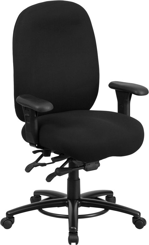 Ergonomic Home TOUGH ENOUGH Series 24/7 Intensive Use, Multi-Shift, Big & Tall 350 lb. Capacity Black Fabric Multi-Functional Swivel Chair with Foot Ring. Learn More Below EH-LQ-1-BK-GG <b><font color=green>50% Off Read More Below...</font></b>