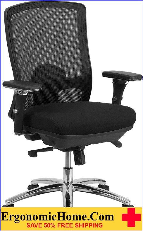 Ergonomic Home TOUGH ENOUGH Series 24/7 Intensive Use, Multi-Shift, Big & Tall 350 lb. Capacity Black Mesh Multi-Functional Swivel Chair with Synchro-Tilt EH-LQ-2-BK-GG <b><font color=green>50% Off Read More Below...</font></b>