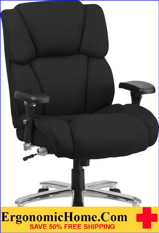 Ergonomic Home TOUGH ENOUGH Series 24/7 Intensive Use, Multi-Shift, Big & Tall 400 lb. Capacity Black Fabric Executive Swivel Chair with Lumbar Support Knob EH-GO-2149-GG <b><font color=green>50% Off Read More Below...</font></b>