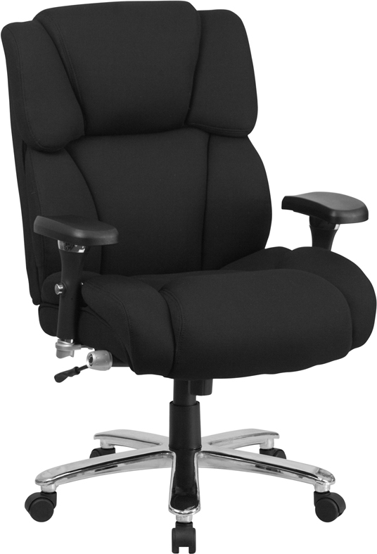 Ergonomic Home TOUGH ENOUGH Series 24/7 Intensive Use, Multi-Shift, Big & Tall 400 lb. Capacity Black Fabric Executive Swivel Chair with Lumbar Support Knob EH-GO-2078-LEA-GG <b><font color=green>50% Off Read More Below...</font></b>