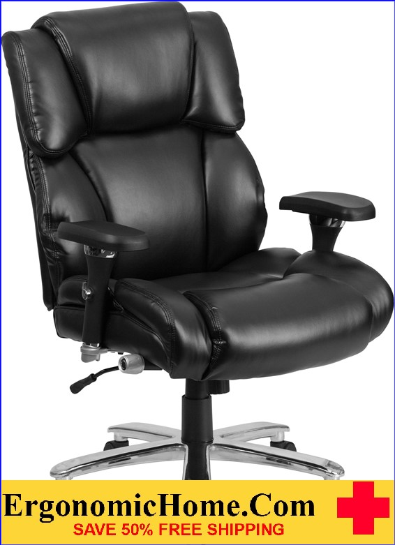 Ergonomic Home TOUGH ENOUGH Series 24/7 Intensive Use, Multi-Shift, Big & Tall 400 lb. Capacity Black Leather Executive Swivel Chair with Lumbar Support Knob EH-GO-2149-LEA-GG <b><font color=green>50% Off Read More Below...</font></b>