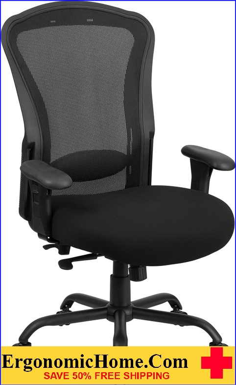 Ergonomic Home TOUGH ENOUGH Series 24/7 Intensive Use, Multi-Shift, Big & Tall 400 lb. Capacity Black Mesh Multi-Functional Swivel Chair with Synchro-Tilt EH-LQ-3-BK-GG <b><font color=green>50% Off Read More Below...</font></b>