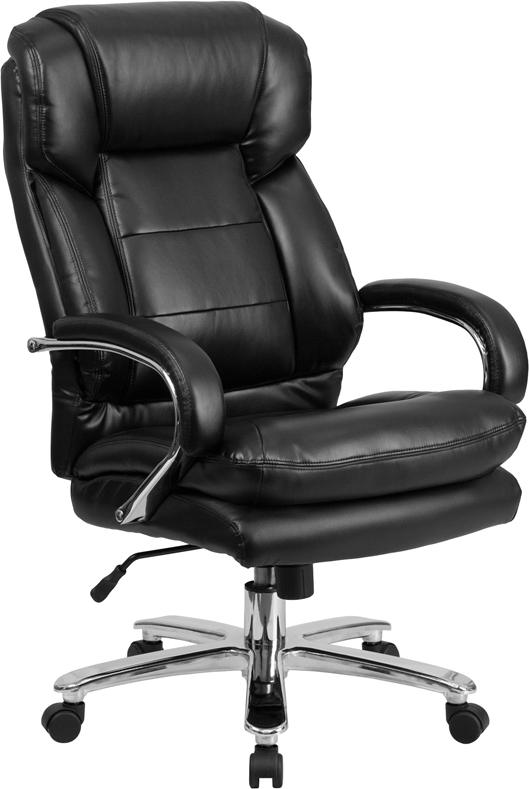 Ergonomic Home TOUGH ENOUGH Series 24/7 Intensive Use, Multi-Shift, Big & Tall 500 lb. Capacity Black Leather Executive Swivel Chair with Loop Arms EH-GO-2078-LEA-GG <b><font color=green>50% Off Read More Below...</font></b>