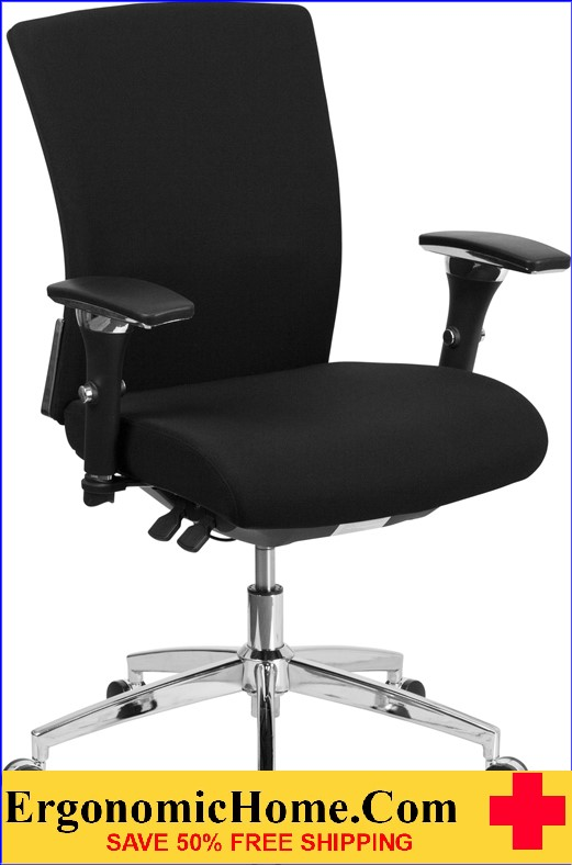 Ergonomic Home TOUGH ENOUGH Series 24/7 Multi-Shift, 300 lb. Capacity Black Fabric Multi-Functional Executive Swivel Chair with Seat Slider EH-GO-WY-85-6-GG <b><font color=green>50% Off Read More Below...</font></b>