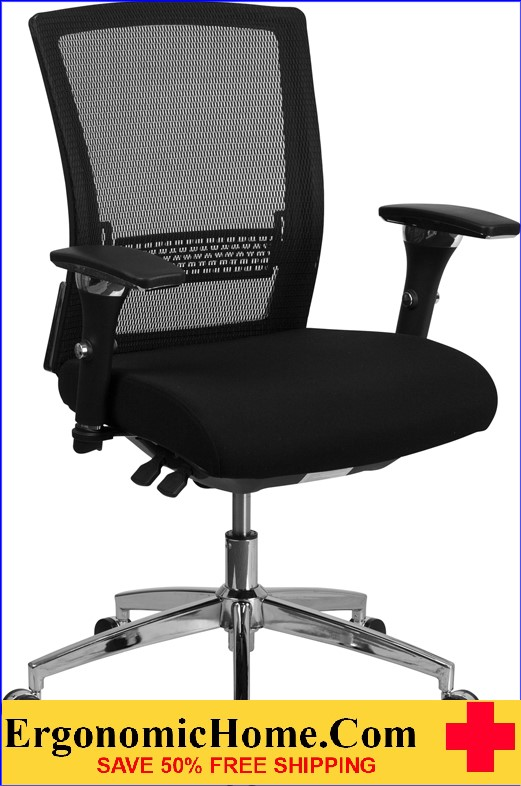 Ergonomic Home TOUGH ENOUGH Series 24/7 Multi-Shift, 300 lb. Capacity Black Mesh Multi-Functional Executive Swivel Chair with Padded Seat and Seat Slider EH-GO-WY-85-8-GG <b><font color=green>50% Off Read More Below...</font></b>