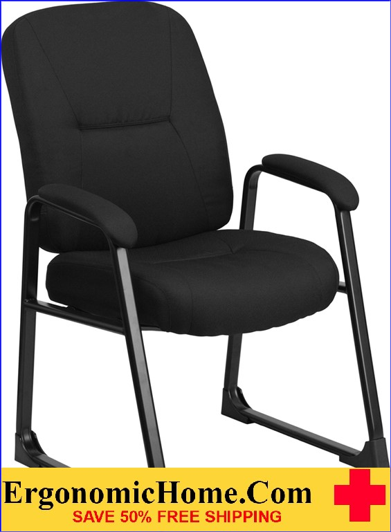 Ergonomic Home TOUGH ENOUGH Series 400 lb. Capacity Big & Tall Black Fabric Executive Side Chair with Sled Base EH-WL-738AV-BK-GG .