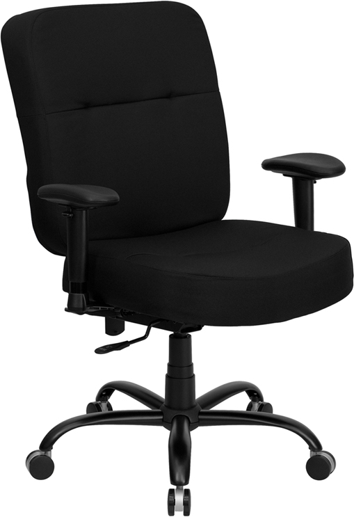 Ergonomic Home TOUGH ENOUGH Series 400 lb. Capacity Big & Tall Black Fabric Executive Swivel Office Chair with Extra WIDE Seat and Height Adjustable Arms EH-WL-735SYG-BK-A-GG <b><font color=green>50% Off Read More Below...</font></b>