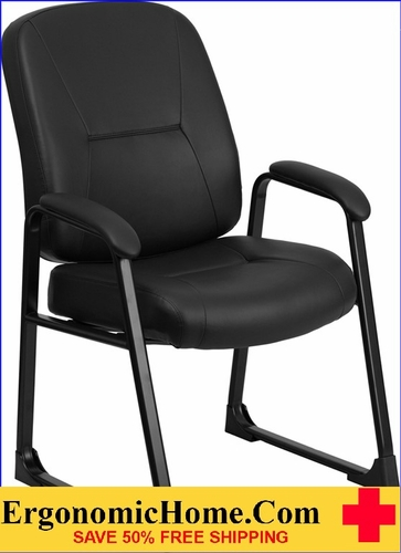 Ergonomic Home Series 400 lb. Capacity Big & Tall Black Leather Executive Side Chair with Sled Base EH-WL-738AV-LEA-GG .