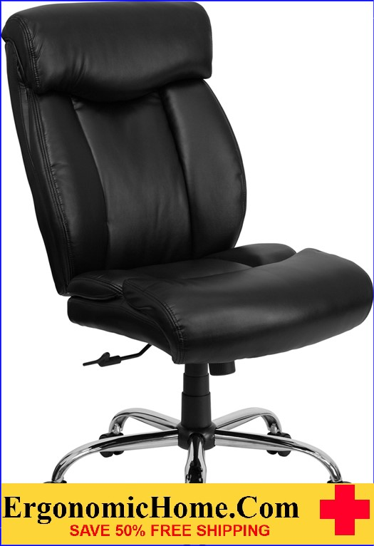 Ergonomic Home TOUGH ENOUGH Series 400 lb. Capacity Big & Tall Black Leather Executive Swivel Office Chair EH-GO-1235-BK-LEA-GG <b><font color=green>50% Off Read More Below...</font></b>