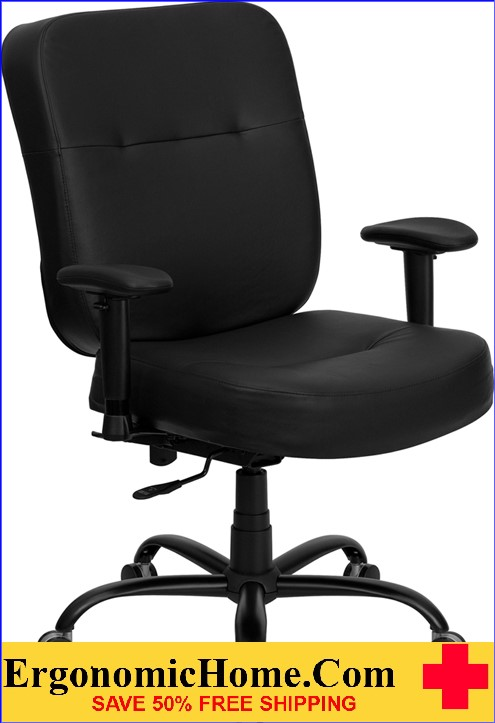 Ergonomic Home TOUGH ENOUGH Series 400 lb. Capacity Big & Tall Black Leather Executive Swivel Office Chair with Extra WIDE Seat and Height Adjustable Arms EH-WL-735SYG-BK-LEA-A-GG <b><font color=green>50% Off Read More Below...</font></b>